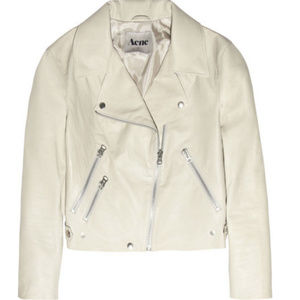 ACNE  Rita Dusty-White Leather Aviator Jacket